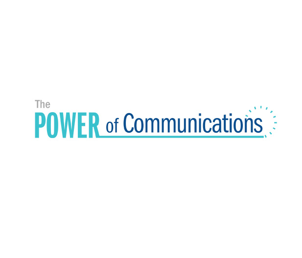 "This image shows the typography design for ""The Power of Communications"" an internal department of Booz Allen Hamilton that promotes employee collaboration."